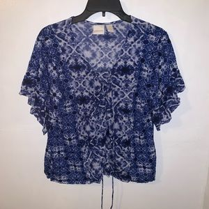 Chico's Women's Blue Tie Dye Blouse Size 1
